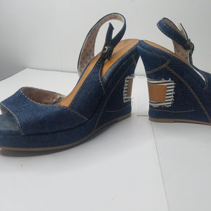 Andrea Denim Wedge Patch heels